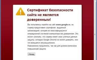 Сертификат безопасности youtube