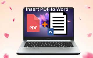 Вставка файла pdf в word