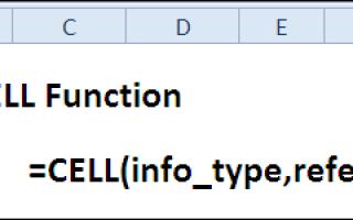 Функция ячейка в excel примеры
