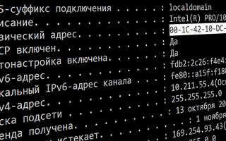 Мас адрес сетевой карты